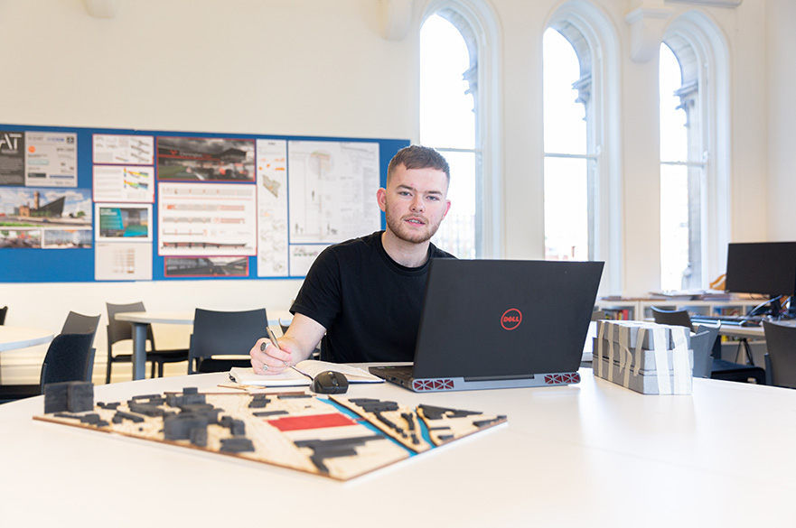 Student in Architectural Technology studio, Arkwright building